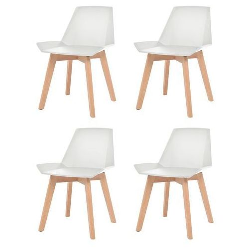 Komplet 4 krzeseł, drewniane nogi i białe, plastikowe siedziska, kolor biały