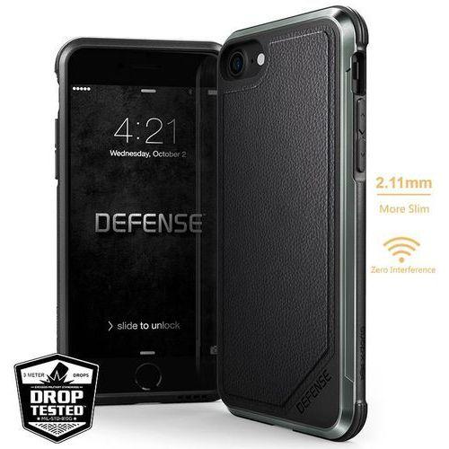 X-Doria Defense Lux - Aluminiowe etui iPhone 8 / 7 (Black Leather), kolor czarny