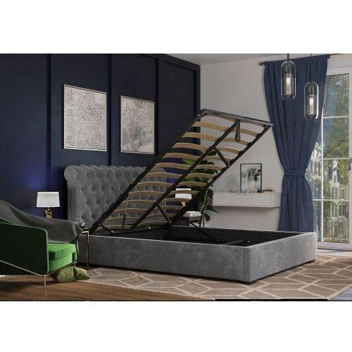 Big meble Łóżko 180x200 tapicerowane ancona + pojemnik szare welur