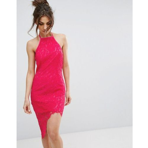 PrettyLittleThing Lace Halterneck Midi Dress - Pink, kolor różowy