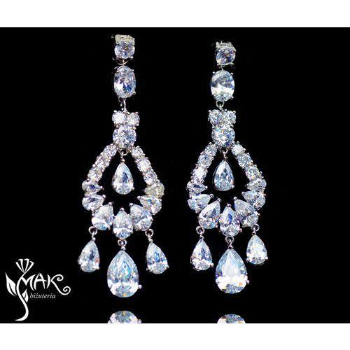 Mak-biżuteria Kol805/3 kolczyki ślubne długie z cyrkoniami łezki