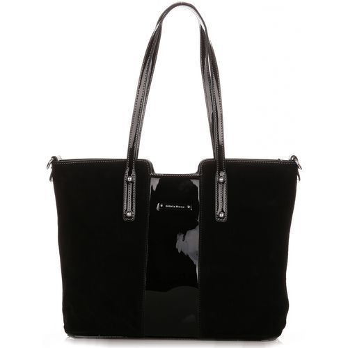 Torebki damskie kuferki zamsz naturalny/skóra eko czarna marki Silvia rosa