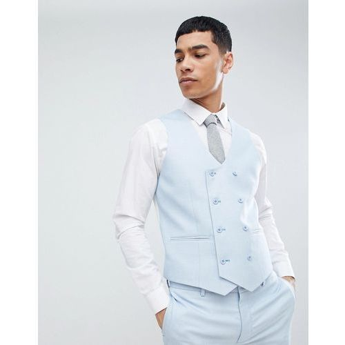 ASOS DESIGN wedding super skinny suit waistcoat in ice blue micro texture - Blue
