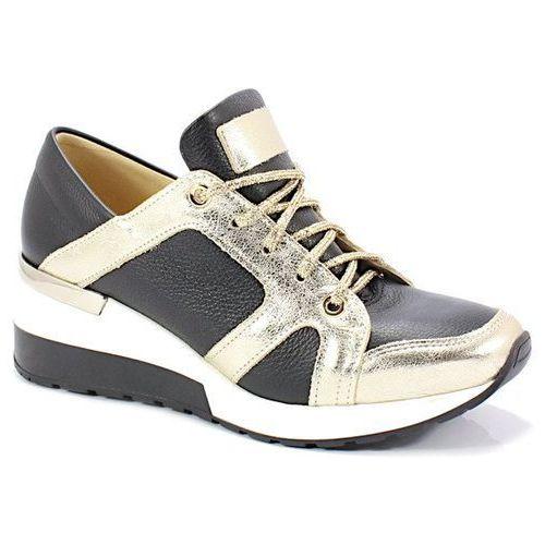 TYMOTEO 2816 CZARNE ZŁOTO - Designerskie Sneakersy - Czarny ||Złoty