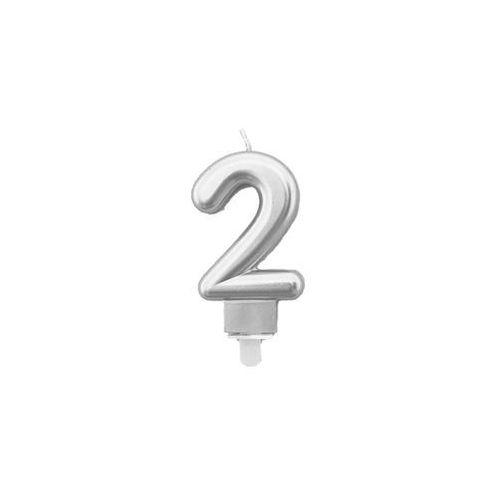 Świeczka cyferka metaliczna srebrna - 2 - 1 szt. (5907509920813)