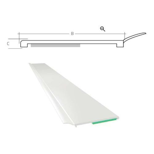 Listwa maskująca płaska samoprzylepna PCV B=40 mm gr. C=1 mm biała z uszczelką L=50 mb