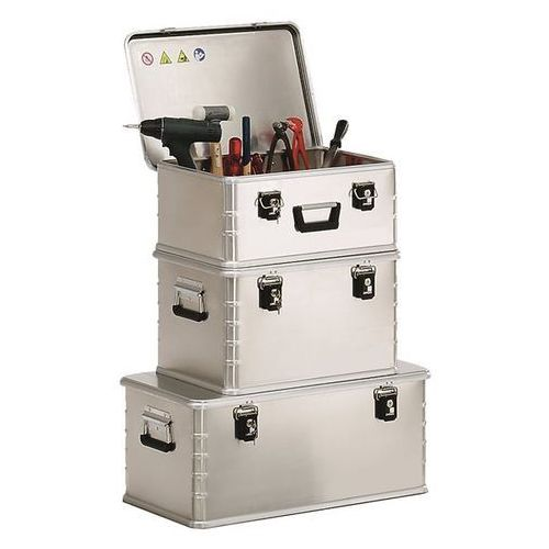 Aluminiowy pojemnik combi, zestaw z 4 pojemnikami, 1 walizka po 42 l, 60 l, 81 l