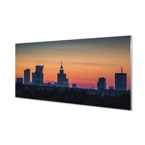 Obrazy na szkle Warszawa Zachód słońca panorama