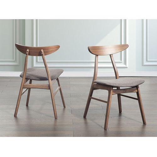Beliani Drewniane krzesło tapicerowane szare - krzesło do jadalni, kuchni - lynn