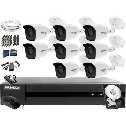 Kompletny zestaw do monitoringu apteki, magazynu Hikvision Hiwatch Turbo HD, AHD, CVI HHWD-6108MH-G2, 8 x HWT-B140-M, 1TB, Akcesoria, ZM10777