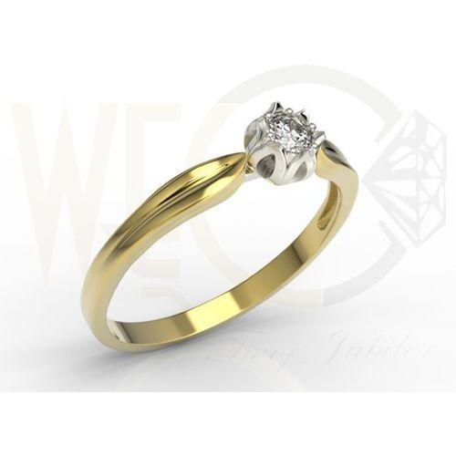 Pierścionek zaręczynowy w kształcie konwalii ap-4010zb z żółtego i białego złota z brylantem. - 0.1 ct marki Węc - twój jubiler