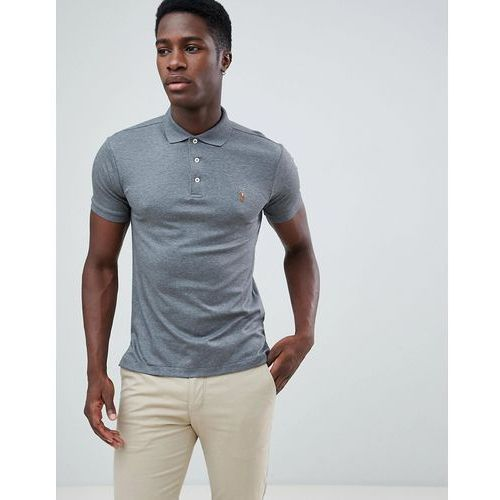 Polo Ralph Lauren slim fit pima polo multi player logo in dark grey marl - Grey, kolor szary