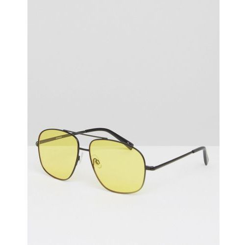 ASOS Metal Square Aviator Sunglasses In Black With Yellow Coloured Lens - Black ()