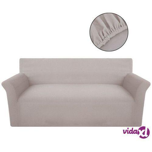 vidaXL Elastyczny pokrowiec na kanapę, prążkowany, beżowy