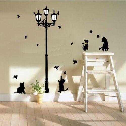 Naklejka dekoracyjna Czarne koty pod latarnią