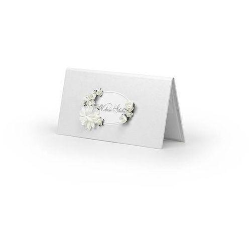 Etui na pieniądze białe z białymi kwiatkami - 1 szt. marki Ap