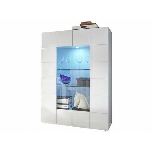 Vente-unique Witryna calisto – oświetlenie led – 2-skrzydłowe drzwi ze szkła – kolor biały lakierowany