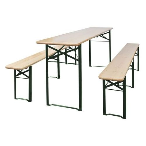 Vidaxl składany stół biesiadny z 2 ławkami, 220 cm, drewno jodłowe