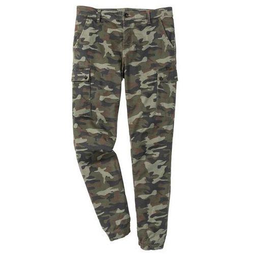 Spodnie bojówki ze stretchem Slim Fit Straight bonprix oliwkowy moro, bawełna