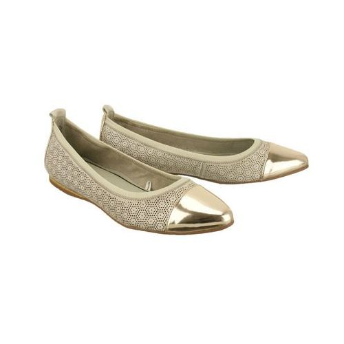 22134-36 offwhite punch/platinum, czółenka baleriny damskie, Tamaris