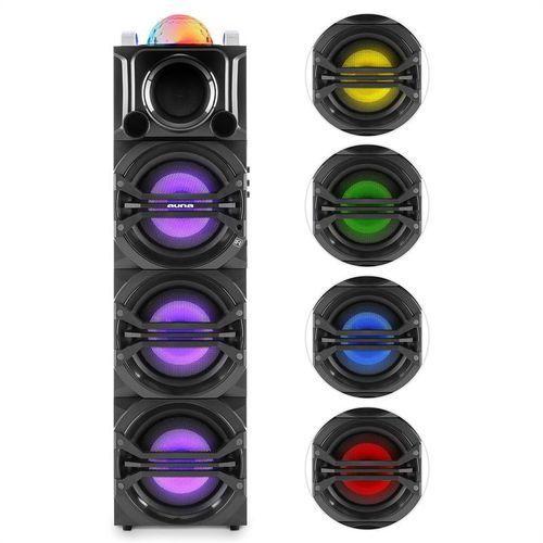 auna DisGo Box 365 system audio imprezowy akumulator Bluetooth USB MP3 FM efekt świetlny