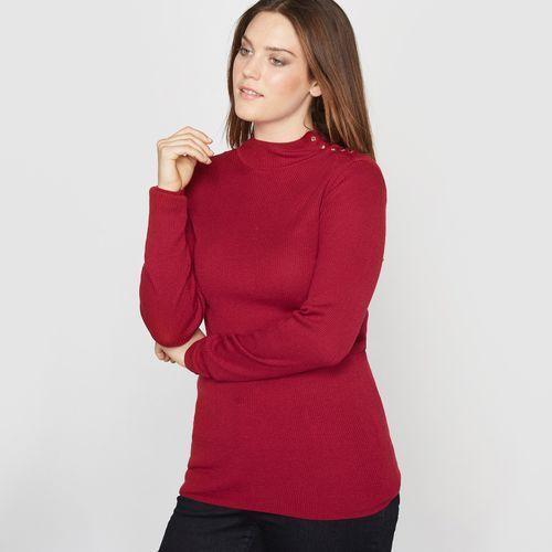Sweter z golfem, żeberkowy splot