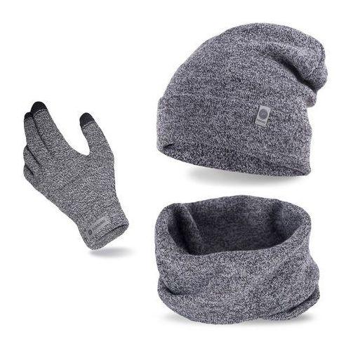 Pamami Komplet męski - czapka, komin i rękawiczki - jasnoszara mulina (5902934068567)