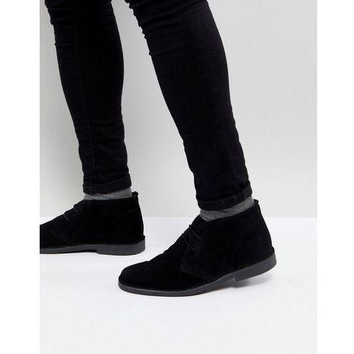 suede desert boots in black - black, Pier one