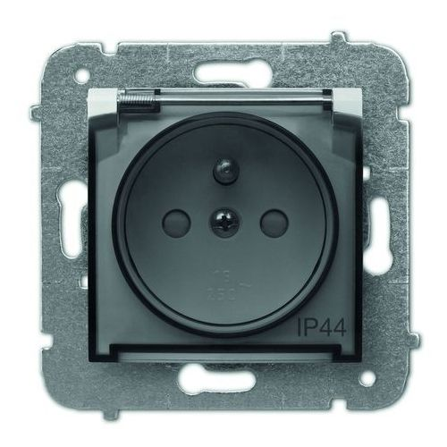 Elektro Plast Carla Gniazdo 2P+Z IP44 z przesłonami torów prądowych Biały-klapka transparentna - 1766-10 z kategorii Gniazdka