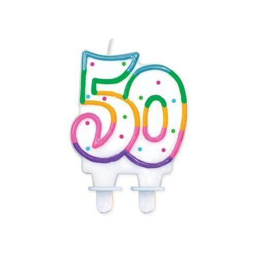 Świeczka urodzinowa liczba 50 w kropeczki 1szt marki Twojestroje.pl