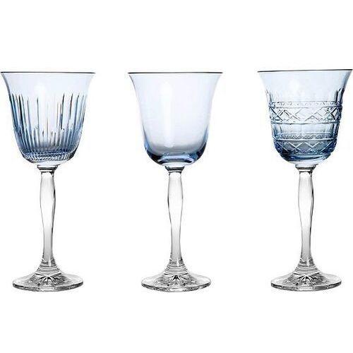 Kieliszki do wina veranda 3 szt. błękitne marki Huta julia