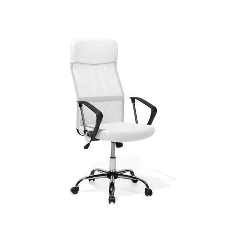 Krzesło biurowe białe regulowana wysokość DESIGN (4260586356687)