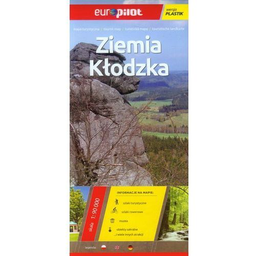 Mapa turystyczna laminowana. Ziemia Kłodzka skala 1:90 000. Europilot - ŁÓDŹ, odbiór osobisty za 0zł!, oprawa broszurowa