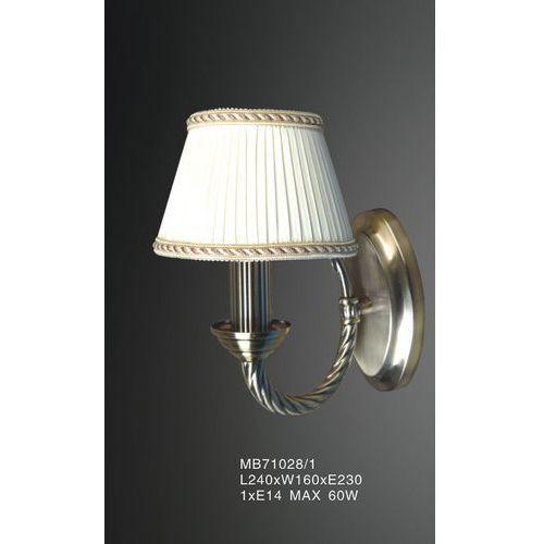 Kinkiet LAMPA ścienna FRATI MB71028/1 Italux klasyczna OPRAWA abażurowa biała złota, MB71028/1