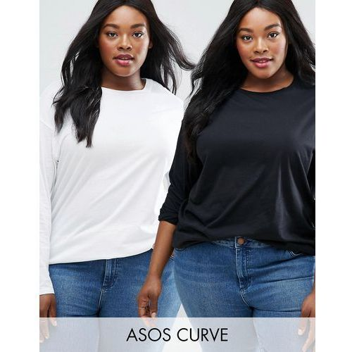 ASOS CURVE Ultimate Long Sleeved Tunic Oversized T-Shirt 2 Pack - Multi