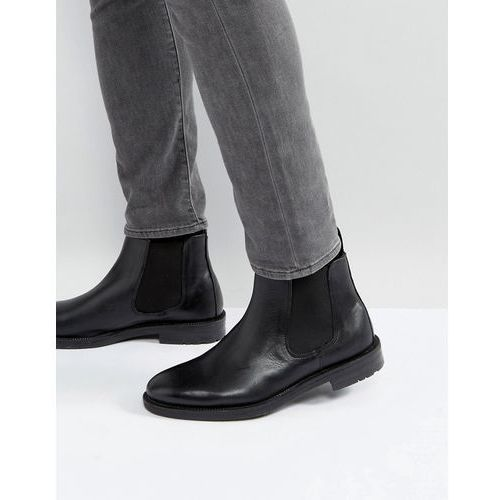 chelsea boots in black leather - black, Silver street