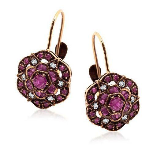 Kolekcja Wiktoriańska - złote kolczyki z diamentami i rubinami, kolor czerwony