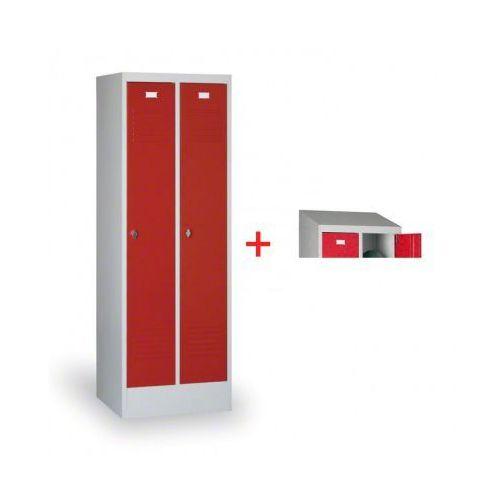 Szafka ubraniowa ekonomik, czerwone drzwi, zamek obrotowy + daszek gratis marki B2b partner