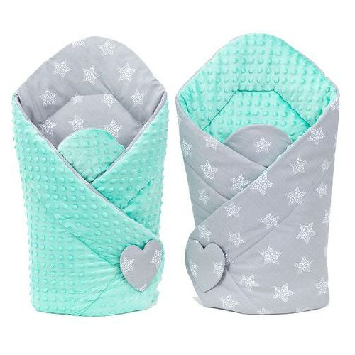 rożek niemowlęcy dwustronny minky gwiazdy bąbelkowe białe duże / miętowy marki Mamo-tato