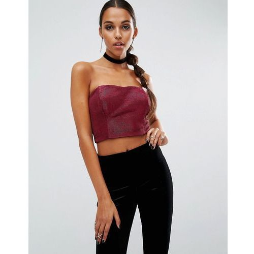night bandeau top with in metallic - pink, Asos