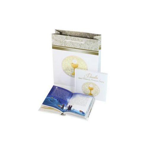 Pamiątka I Komunii Świętej z Biblią i torbą prezentową