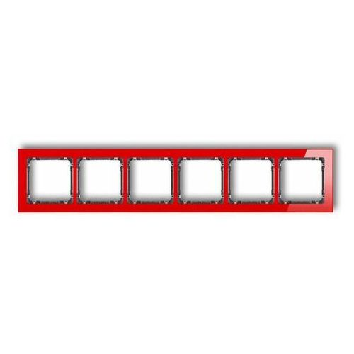 Deco ramka uniwersalna sześciokrotna - efekt szkła (ramka: czerwona spód: grafitowy) czerwony 17-11-drs-6 marki Karlik elektrotechnik sp. z o.o.