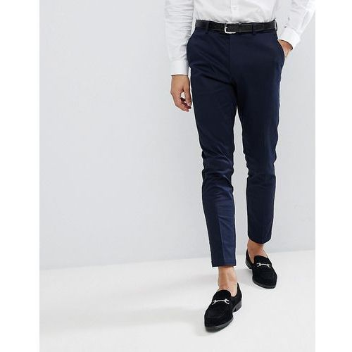 Burton menswear skinny smart trouser with belt in navy sateen - navy