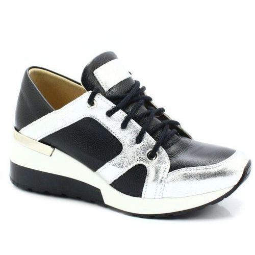 2816 czarne srebro- designerskie sneakersy - czarny ||srebrny marki Tymoteo