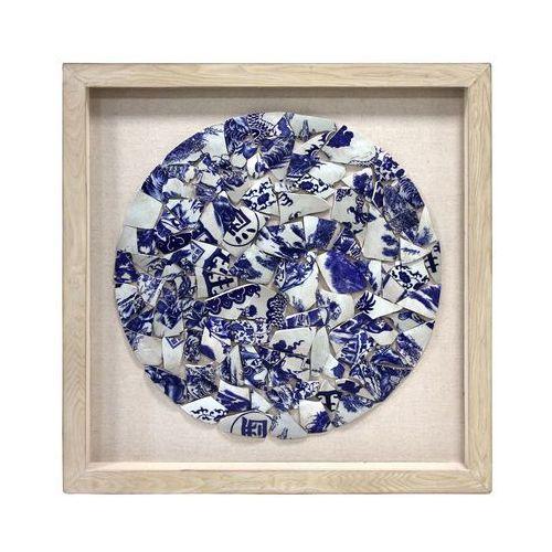 HK Living Okrąg z niebieskiej i białej porcelany w ramce na bawełnianym tle AWD8850