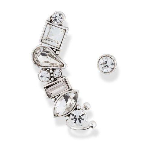 Kolczyk wkrętka i ozdoba na ucho z dekoracyjnymi kamieniami srebrny kolor marki Bonprix