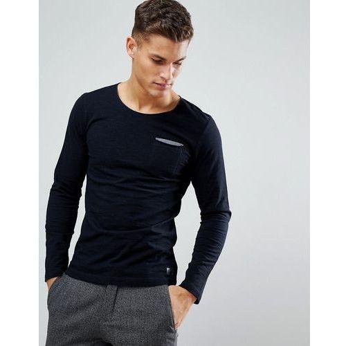 Tom Tailor Long Sleeve Top In Fine Stripe With Contrast Pocket - Black, kolor czarny