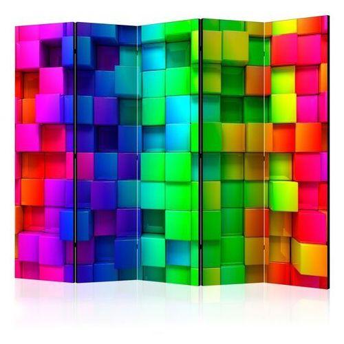 Parawan 5-częściowy - kolorowe sześciany ii [room dividers] marki Artgeist