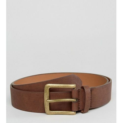 plus wide belt in brown faux leather with vintage gold buckle - brown marki Asos