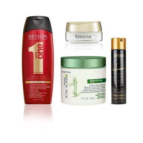 Revlon Zestaw dogłębne odżywienie | Revlon Uniq One szampon, Matrix Biolage Fiberstrong maska, Kerastase Elixir Ultime serum 18ml + PREZENT Infinium Extra Strong 4 (9753197531910)